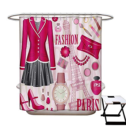 BlountDecor Girls Shower Curtain Collection by Fashion Theme in Paris with Outfits Dress Watch Purse Perfume Parisienne Landmark Patterned Shower Curtain W36 x L72 Pink Biege]()
