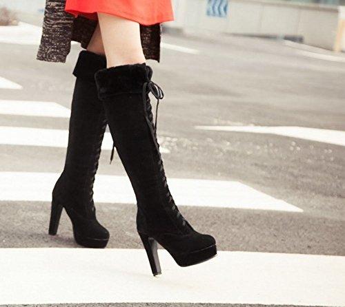 Mee Shoes Damen modern reizvoll runder toe mit Schnürsenkel Plateau Langschäfter Stiefel mit hohen Absätzen Schwarz