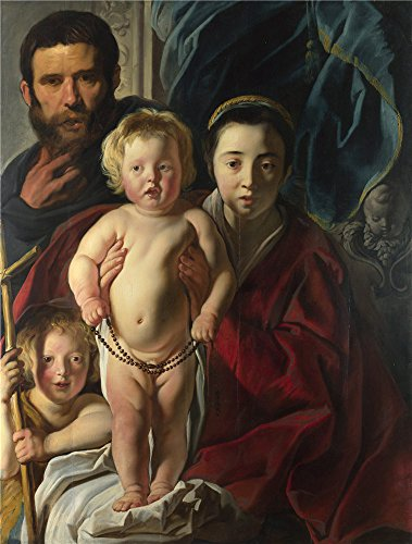 The Polyster Canvas Of Oil Painting 'Jacob Jordaens The Holy Family And Saint John The Baptist ' ,size: 10 X 13 Inch / 25 X 34 Cm ,this High Quality Art Decorative Prints On Canvas Is Fit For Powder Room Decoration And Home Artwork And Gifts