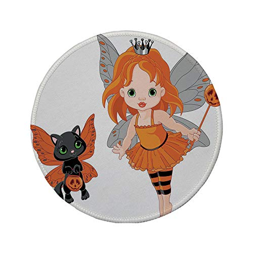Non-Slip Rubber Round Mouse Pad,Halloween,Halloween Baby Fairy and Her Cat in Costumes Butterflies Girls Kids Room Decor Decorative,Multicolor,7.87