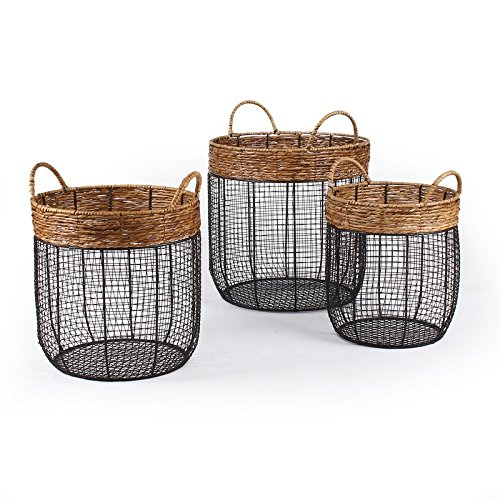 Adeco Black Iron Wire Round Scoop Basket with Seagrass-Wrapp