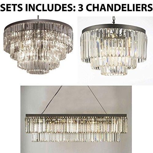 - Set of 3-1 Palladium Empress Crystal Glass Fringe Chandelier & 1 Retro Palladium Glass Fringe Rectangular Chandelier & 1 Palladium Crystal Glass Fringe 3-Tier Chandelier