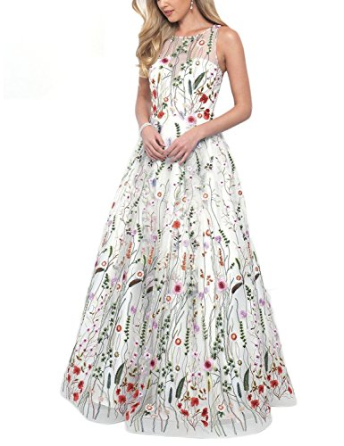 Women's Summer Embroidery Floral Long Prom Dress Scoop Evening Party Gown White