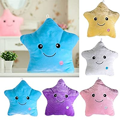 Star Luminous Pillow Glow in the Drak Stuffed Cartoon Soft Plush Kids Birthday/Xmas Gift Star Smile Led Light Pillow Kids Toy (1 Pcs Random Color) by mercury paradise: Toys & Games