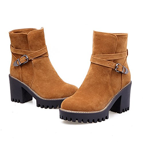 Yellow Top AgooLar Frosted Women's Heels Boots Buckle Solid Low High fqpzTwXP