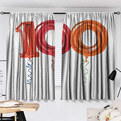 Jinguizi 100th Birthday Curtain Darkening Blackout Party for Hundred Years Olds Flying Balloons Artwork Print Woven Darkening Curtains Red Orange and Hot Pink W55 x L39 by Jinguizi (Image #1)