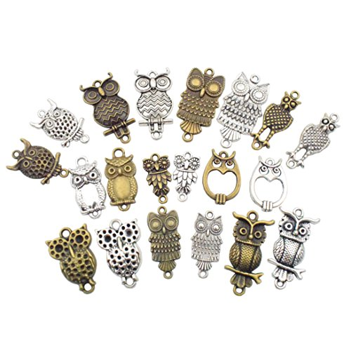 Pendant Connector (OWL Charm Collection-100g (about 40 pcs) Craft Supplies Owl Connector Charms Pendants for Crafting, Jewelry Findings Making Accessory For DIY Necklace Bracelet (owl connector charms))