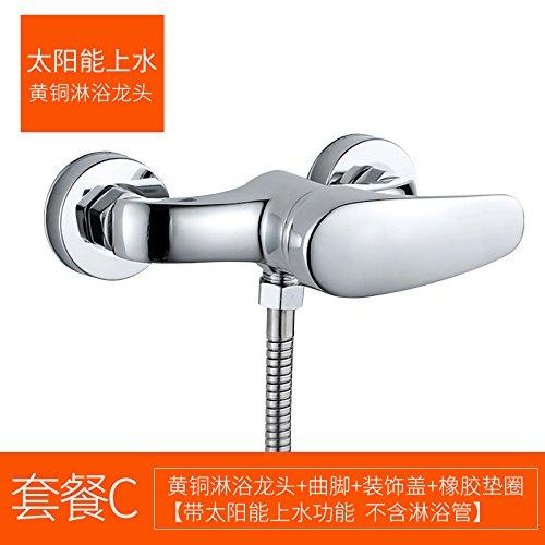 C solar shower SunSuiHui porcelain triple copper shower faucet flush water valve of water heater bath shower faucet simple suit,C solar shower