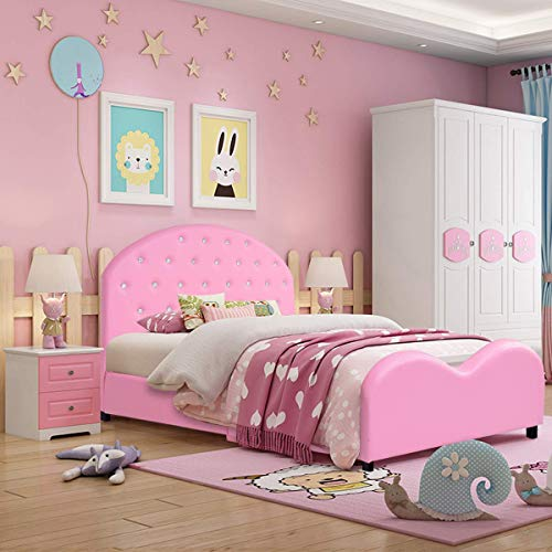 Costzon Toddler Bed, Upholstered Platform Bed W/Embedded Crystal Wood Bedframe Cylindrical Feet for Kids Boys & Girls, Children Classic Sleeping Bedroom Furniture(Pink)