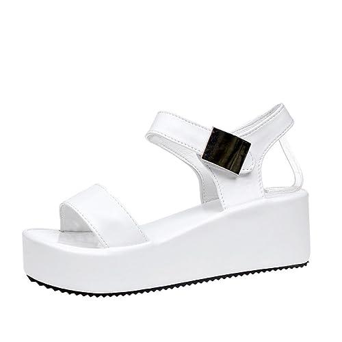 Longra 2018 Nuovo stile moda donna primavera tinta unita Peep Toe Hasp di spessore inferiore sandali scarpe impermeabili (EU Size:35, Nero)
