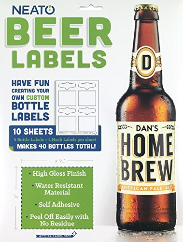 Neato Blank Beer Bottle Labels - 40 pack - Water Resistant, Vinyl, For InkJet Printers]()
