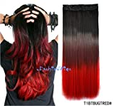 (US) Black to burgundy to Red three Colors Ombre hair extension, Synthetic Hair extensions UF208
