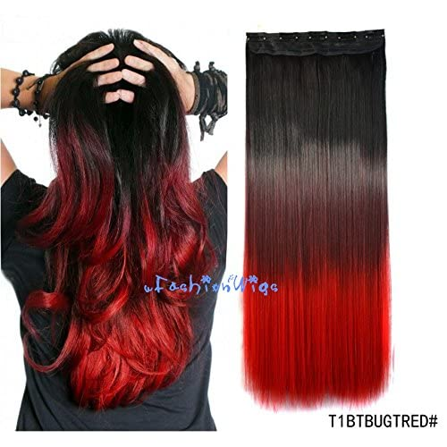 Black to burgundy to Red three Colors Ombre hair extension, Synthetic Hair extensions UF208
