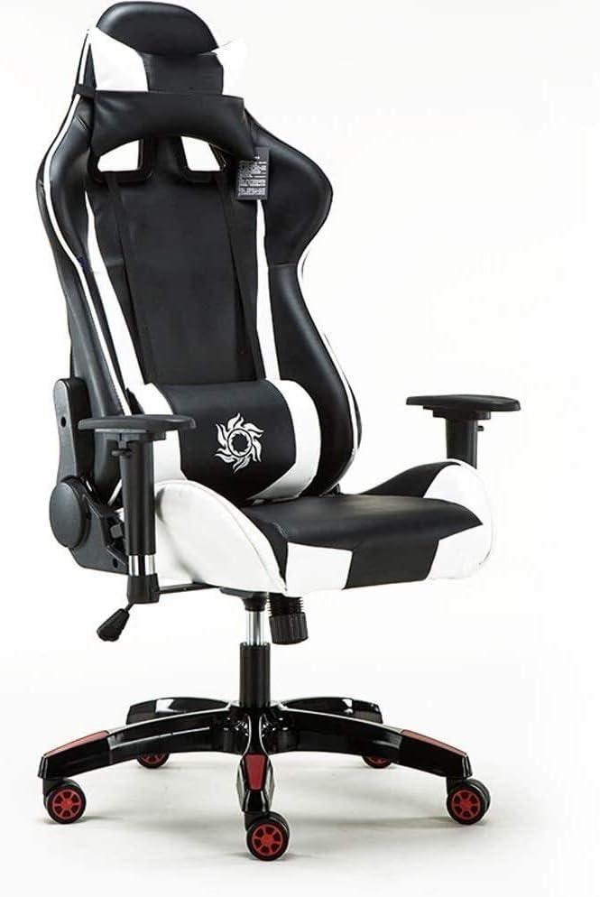 WYL Gaming Chair, Silla ergonómica Silla de Oficina Barato con Soporte Lumbar Voltear Las Armas reposacabezas de Cuero PU Silla ejecutiva de Respaldo Alto Ordenador for Adultos Hombres Mujeres