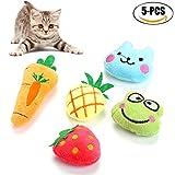 Catnip Toy - Legendog 5Pcs Cat Biting Toy Pineapple Strawberry Carrot Frog Bear Dolls Interactive Kitten Toy
