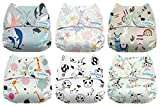 #4: Mama Koala One Size Baby Washable Reusable Pocket Cloth Diapers, 6 Pack with 6 One Size Microfiber Inserts (Love Me Tender)