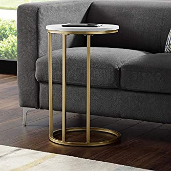 """WE Furniture AZF16RCSTWM Side Table, 16"""", Faux White Marble/Gold"""
