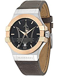 Men's 'Potenza' Quartz Stainless Steel and Leather Fashion Watch, Color:Black (Model: R8851108014)