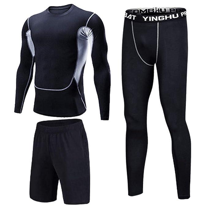 JEELINBORE Fitness-Bekleidungssets f/ür Herren Kompressions T Shirt /& Leggings Base Layer Langarmshirt Funktionsshirts Top Hose