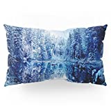 Society6 Blue Winter Wonderland : Forest Mirror Lake Pillow Sham King (20'' x 36'') Set of 2
