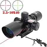 2.5-10x40 Hunting Rifle Scope Dual Illuminated Mil-dot with Red Laser Combo Rifle Hangers
