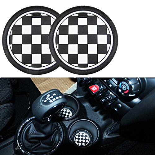 78mm Black Checker Pattern Style For MINI Cooper Front Cup Holders Coasters R60 Countryman R61 Paceman F55 F56 3rd Gen