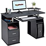 Computer Desk with Shelves, Cupboard and Drawers for Home Office in Graphite Black Effect - Piranha Furniture Tetra PC 5g