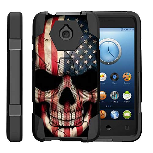 TurtleArmor | Compatible with Alcatel Acquire Case | Streak Case | Ideal Case [Dynamic Shell] Hybrid Dual Layer Hard Shell Kickstand Silicone Case - US Flag Skull