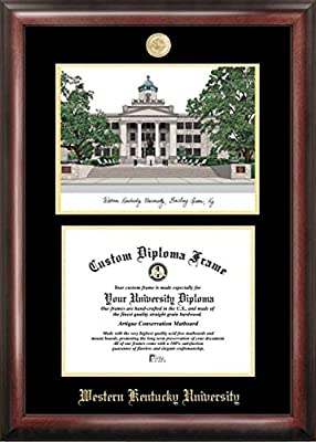 """Campus Images """"Western Kentucky University Embossed Diploma"""" Frame with Lithograph Print, 8.5"""" x 11"""", Gold"""