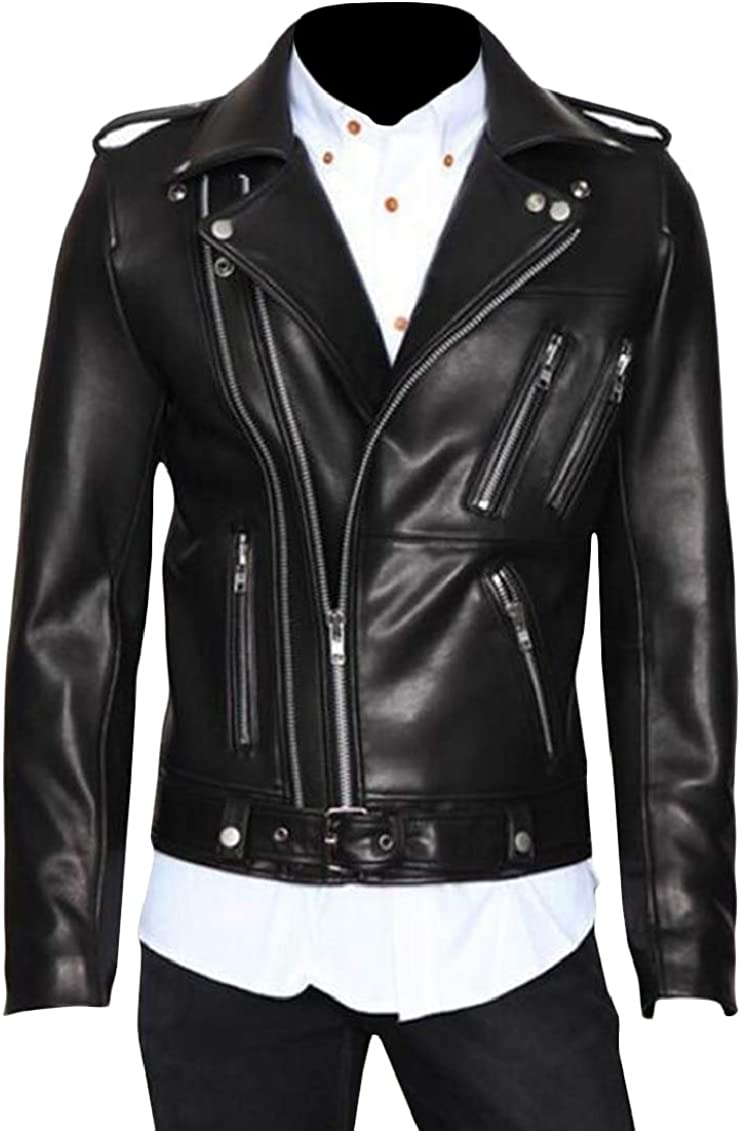 Wopop Mens Classical Biker Belted Oblique Zip Faux Leather Moto Jackets Coat