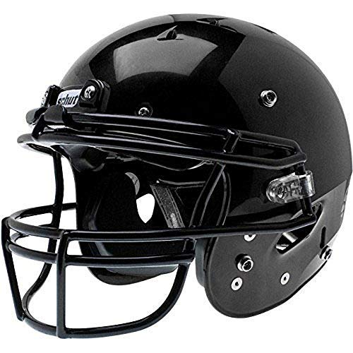 Schutt Sports Youth Recruit Hybrid Football Helmet, Black with DNA Ropo YF Attached Black Guard,Large