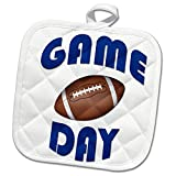 3dRose RinaPiro Sport Sayings - Game day. Football. - 8x8 Potholder (phl_282845_1)
