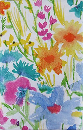 Summer Meadow Watercolor with Zipper Umbrella Hole Vinyl Flannel Back Tablecloth (60