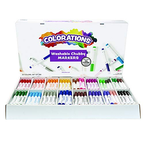 Colorations Chubby Markers, Conical Tip,Set of 300, 20 Bold Colors, Coloring, Paper, Kids, Posters, Drawing, Bold Colors, Classroom, School Supplies, Art Supplies, Craft Projects