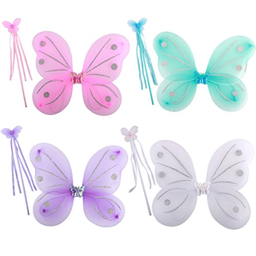(kilofly 4 Sets Princess Party Favor Jewelry Fairy Costume Dress up Role Play)