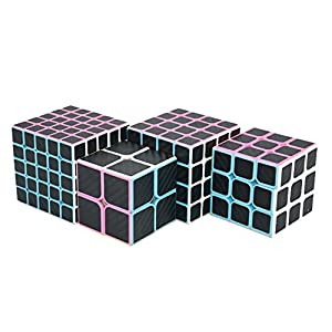 I-xun Magic Cube Set of 2x2x2, 3x3x3, 4x4x4, 5x5x5 Carbon Fiber Sticker Speed Puzzle Cube Pack