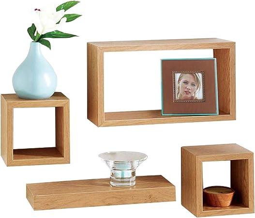 Unit Set Of 4 Wood Wooden Floating Storage Display Wall Cubes Cube Shelf Shelves