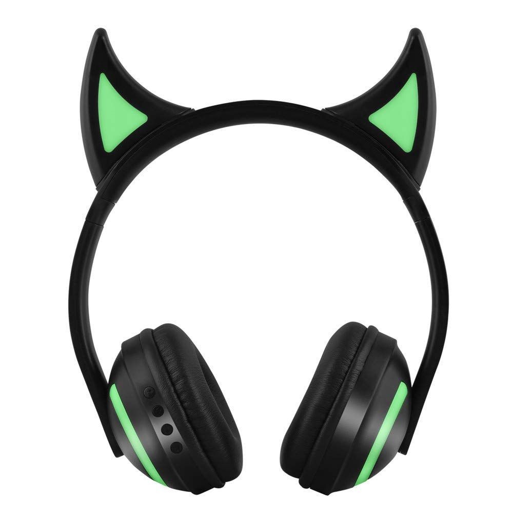 GZCRDZ Wireless Bluetooth Over-Ear Headphones w/Mic,7 Colors LED Light Flashing Glowing On-Ear Stereo Earphone Compatible with Smart Phones PC Tablet (19B Devil)