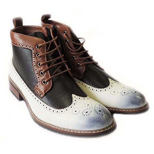 Nouvelle Mode Hommes Bottines Lace Up Wing Tip Cuir Doublé Robe Chaussures 806278 / Blanc
