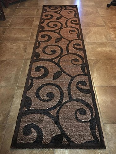 Modern Long Runner Contemporary Area Rug Brown Design #154 Americana (32 Inch X19 Feet 8 Inch ) by Americana