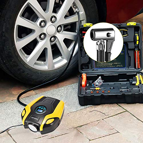 Tire Inflator, Air Compressor 12V Portable Digital Display to 150PSI Lighting Cable Bicycle, Ball Inflatables