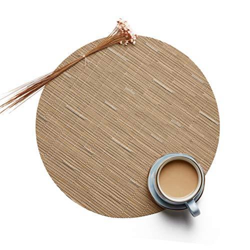 YURASIKU Round Placemats, Brown Bamboo Pattern Woven Vinyl Heat-Resistant Place Mats PVC Non-Slip Table Mat, Set of 4