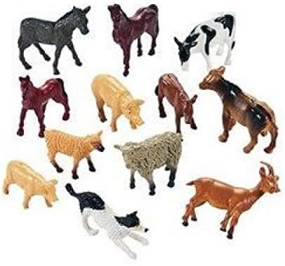Fun Express Miniature Farm Animal Toy Figures - 12 Pieces