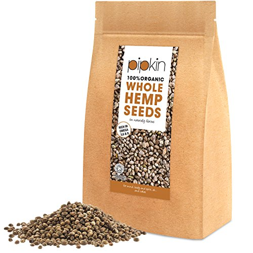 Pipkin 100% ORGANIC HEMP SEEDS 500g (WHOLE) Hemp Seed Hearts Packed with...