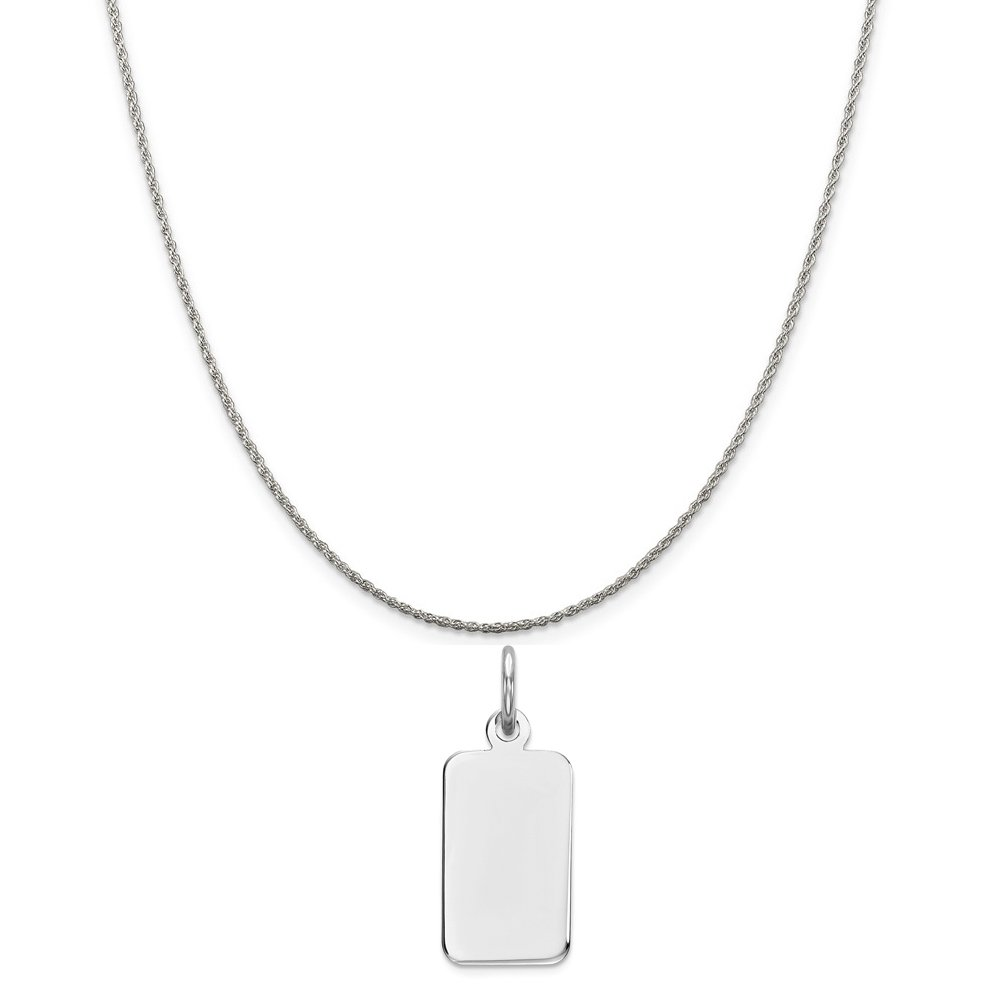 16-20 Mireval Sterling Silver Engravable Rectangle Disc Charm on a Sterling Silver Chain Necklace