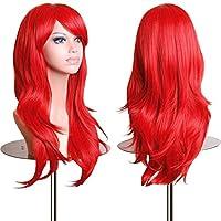 """28 """"largo resistente al calor gran ondulado rojo oscuro peluca cosplay"""