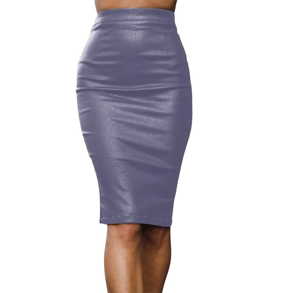 beautyjourney Falda de Cuero de la PU de Las Mujeres Falda lápiz elástica de Cintura Alta Falda Casual de Negocios hasta la Rodilla Falda de la Cadera de Bodycon