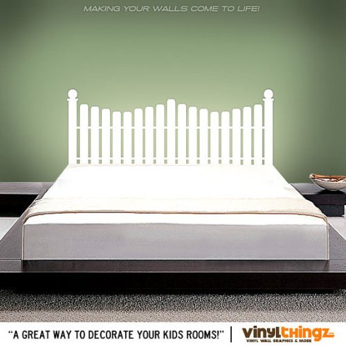 Picket Twin Fence (Double/full Bed Picket Fence Headboard Wall Decal (Twin Size) Wall Decals Home Wall Stcker Decals Decor Bedroom Vinyl Romoveralble 909)