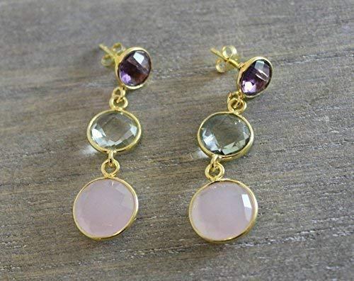 - Purple Amethyst Green Amethyst Prasiolite and Pink Chalcedony Vermeil Sterling Silver Post Earrings