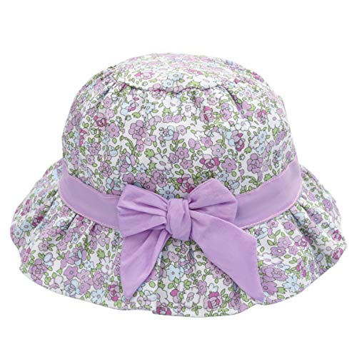 Baby Girl Sun Hat Bowknot - Bucket Hats for Infant Toddler Summer Sun Protection (6-12 Months, Floral Purple)